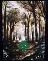 Magic the Gathering alter: Forest 11/22/14 by Ondal-the-Fool