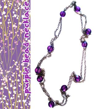purple bead necklace by psycolicious