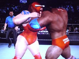 Red Monster Lady and Justin Holloway lock up by fzero64