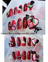 3d SHATTERED HEART NEW NAILS by jadelushdesigns