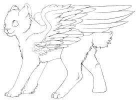 Free Winged Cat lineart by color-freak1