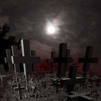 Graveyard Under a Full Moon by crotafang