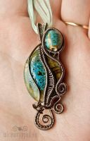 Ceramic wire wrapped pendant by ukapala