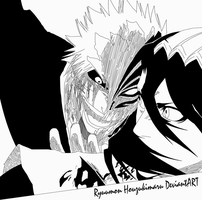 Hollow Ichigo and Byakuya by Ryuumon-Houzukimaru