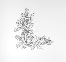 Roses and honeybees tattoo design by Starleaf-Creations