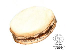 Chocolate macaroon watercolor by Miyu-Maneki