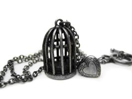 Bird Cage Locket Necklace by pila12903