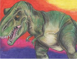 Dinosaur in colored pencil by colormekatie
