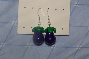 Polymer Clay Eggplant Earrings by wildflower4etrnty