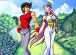 Saori x Seiya walking in the garden by locofuria