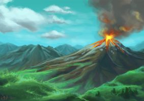 Volcano speedpaint by Wictorian-Art