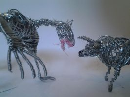 wire bull and wire werewolf sculptures by ULate