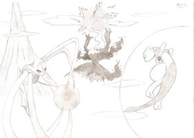 Deoxys, Darkrai, Mewtwo by DomOrdep