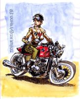 beemer cafe-racer girl by xobule