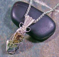 Small Bismuth Crystal and Silver Wire-Wrapped Pend by HeatherJordanJewelry