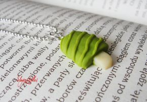 Tiny green ice cream on a stick necklace by Benia1991