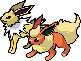 Flareon and Jolteon (trace) by GroudonMcL