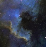 NGC 7000 the wall nebula Ha-SHO by redkojimax