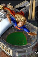Supergirl over stadium colored by culdesackidz
