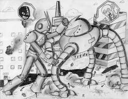 Epic robot fight by Rhay-Robotnik