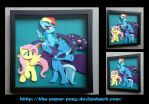 Commission: Fluttershy Trixie and RD Shadowbox by The-Paper-Pony
