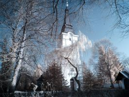 Church in Stolpe infrared by MichiLauke