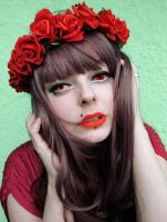 Red Flower Power Alternative Girl stock image 2 by cherrybomb-81