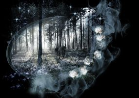 PREMADE BACKGROUND, FOREST OF ROSES by VaL-DeViAnT