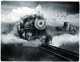 Black and White Train by nine9nine9
