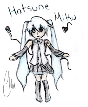 Hatsune Miku Colored Pencil Drawing by soccerkins1234