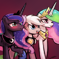 Winter Storm and the princesses by luminaura