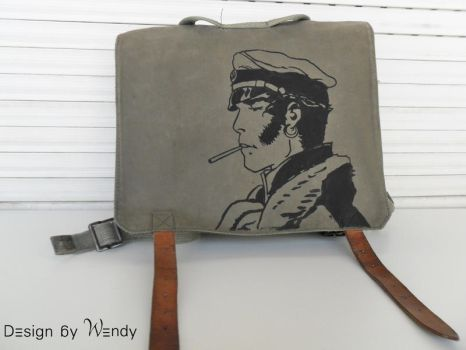 Corto Maltese inspired Hand Painted Bag by DesignByWendy