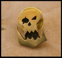Ork emblem pin with butterfly clasp by simoniculus