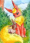 Flareon and Eevee (ACEO) by Vampire-Eretica