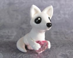 Arctic Fox with Pink Heart by DragonsAndBeasties