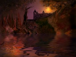 Castle by moonlight by teddybearcholla
