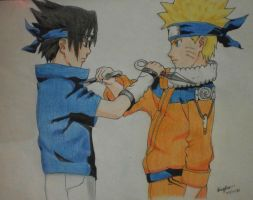 Naruto vs Sasuke by bingkee