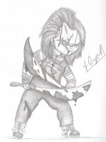 Chucky holding two bloody machetes by Laquyn