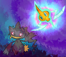 Banette and Rotom doodle by KinkoKitty