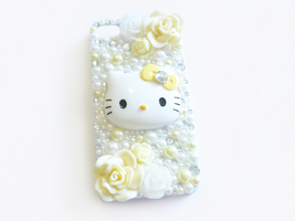 Yellow and White Hello Kitty Decoden iPhone Case by Kuppiecake