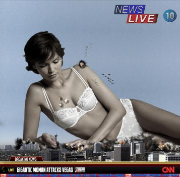 Giantess Myrthe Sourire - News Flash Rampage by GiantessStudios101