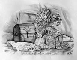 Still life in ink wash by La-Sara