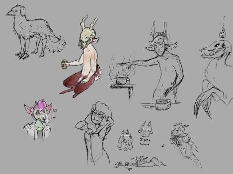 A bundle of sketches by FoxPeach