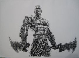 God of War 3 Kratos drawing by Chriluke