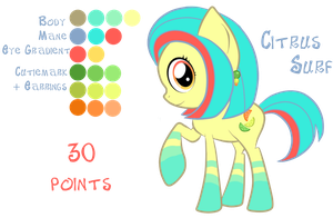 Citrus Surf - Pony Points Adoptable - CLOSED by sararini