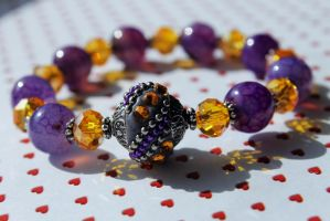 Purple, Gold and Silver Bead Bracelet by Clerdy
