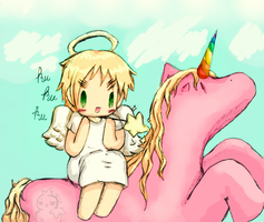 Arthur and unicorn by the-mad-hatta