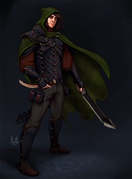 Concept: Human Rogue - Dungeons and Dragons by asphillipsart