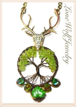 Stag Tree of Life Pendant Wire Wrapped by LoneWolfjewelry