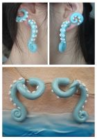 Beachy Fake Gauge Wrap-Around Tentacle Earrings by KittyAzura